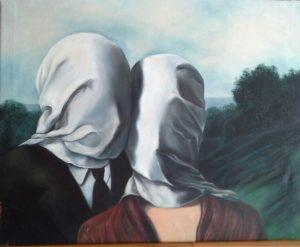 Gli Amanti, Omaggio a Renè Magritte - Riproduzione, Seconda versione 1928