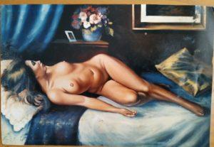 Nudi di Donna : La Stanza dipinto olio su tela di dimensioni 80x90 cm