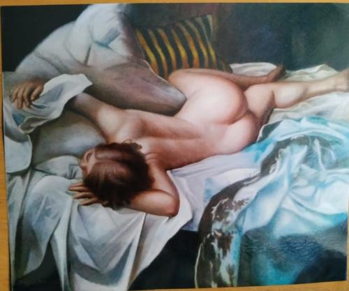 Nudi di Donna : La dormiente dipinto olio su tela di dimensioni 100x80 cm