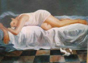 Nudi di Donna : La scarpa dipinto olio su tela di dimensione 80x70 cm