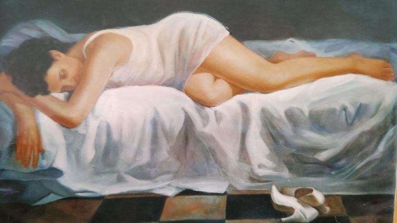 La scarpa dipinto nudo di donna