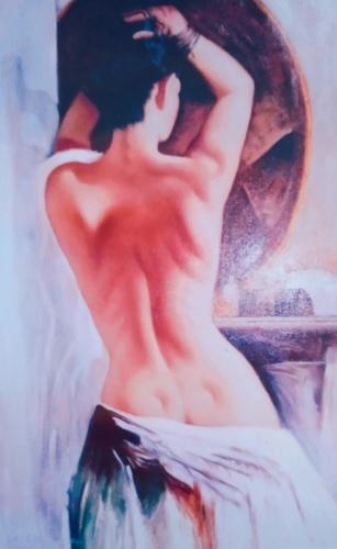 Nudi di Donna : Lo Specchio dipinto olio su tela di dimensione 70x90 cm