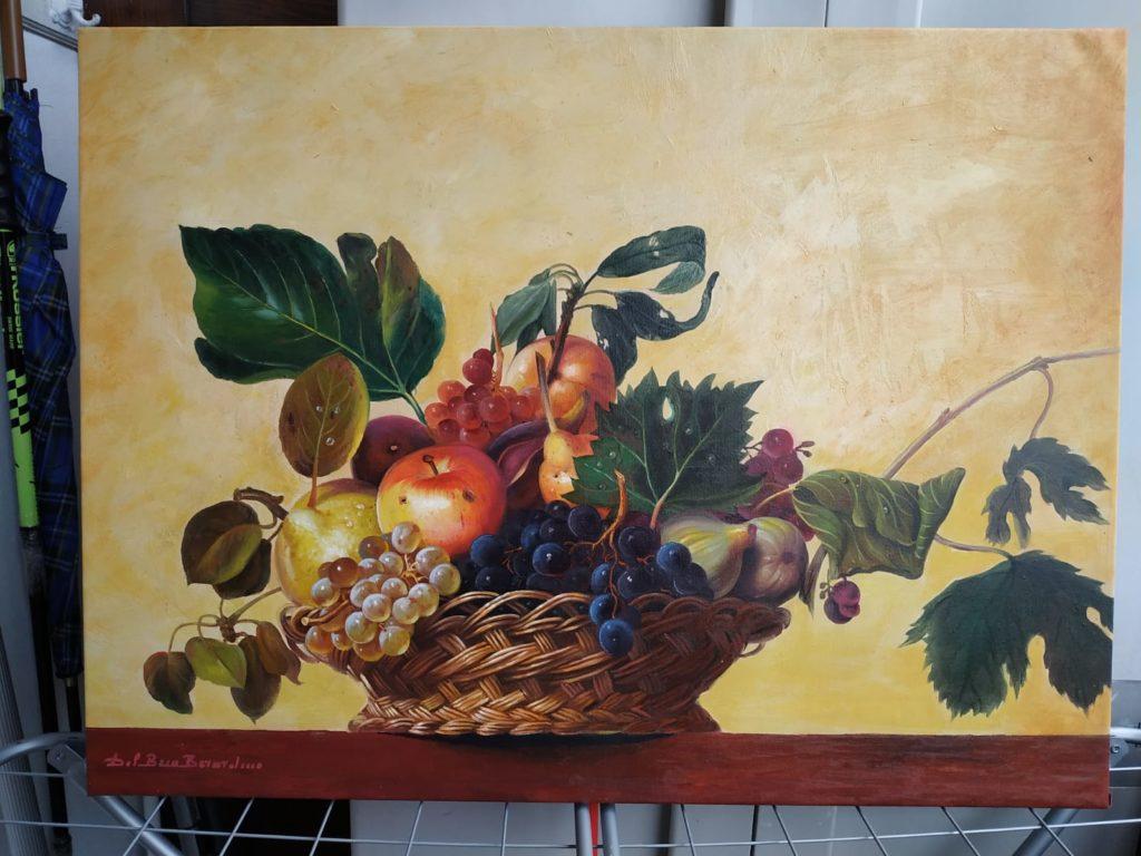 La canestra di frutta Olio su tela 60x80 omaggio a Caravaggio