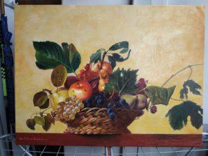 Olio su tela omaggio a Caravaggio La Canestra di frutta